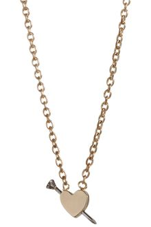 A.l.c. Jewelry Silver Brass Mini Heart Nail Pendant Necklace - Lyst