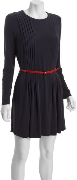 Calvin Klein Charcoal Pleated Long Sleeve Belted Dress in Gray (charcoal) - Lyst