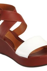 Fendi Ankle Wrap Platform Wedge Sandal - Lyst