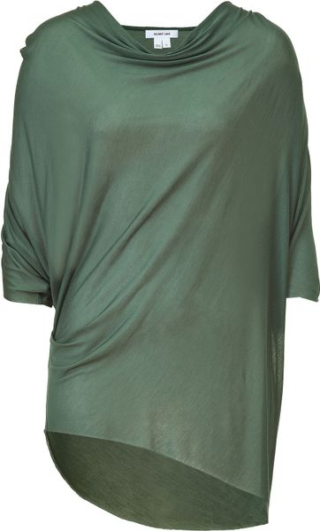 Helmut Lang Pebble Green Draped Top in Green - Lyst
