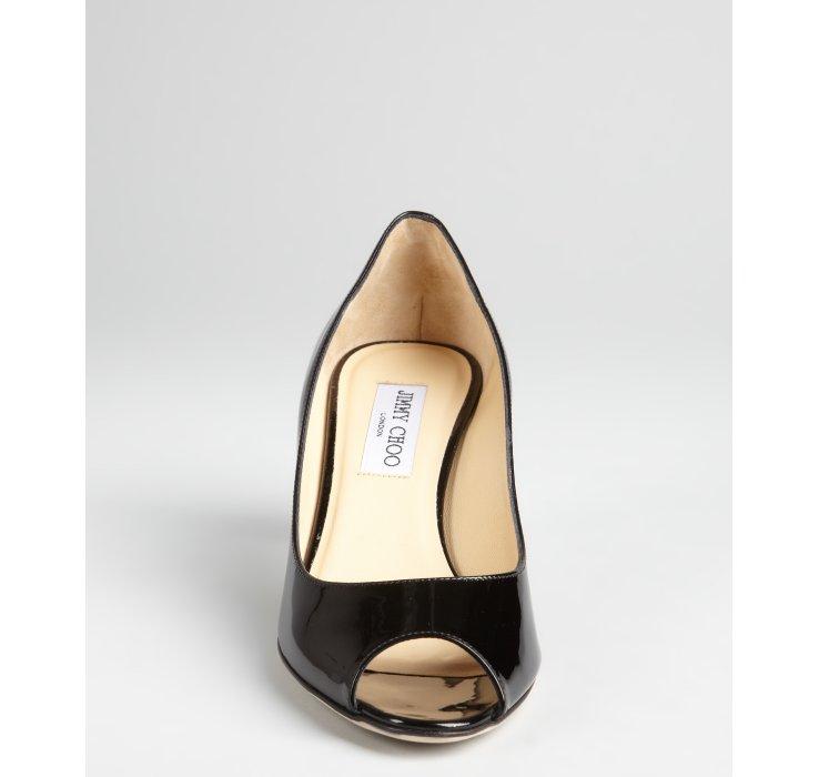 Jimmy choo Black Patent Leather Isabel Peep Toe Kitten Heels in ...