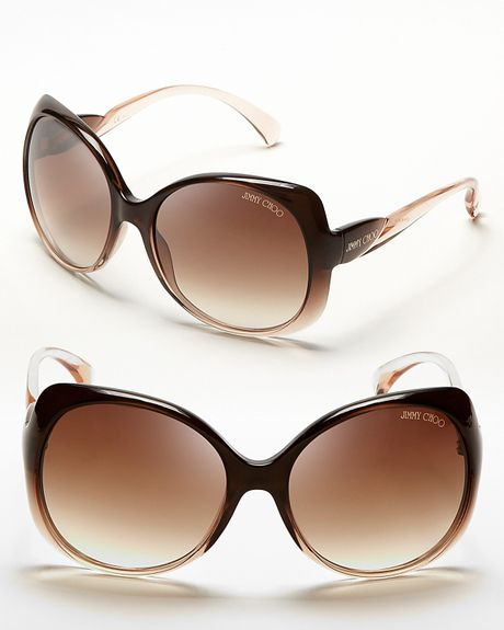 Jimmy Choo Squared Oversized Dahlia Sunglasses in Brown (brown beige, brown gradient lens) - Lyst