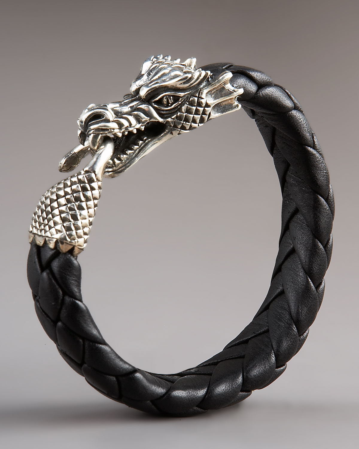 King baby studio leather dragon bracelet in black for men for King baby jewelry sale