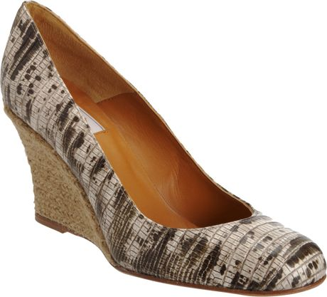 Lanvin Lizard Print Espadrille Wedge in Animal (black) - Lyst