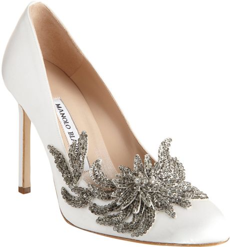 Manolo Blahnik Swan in White - Lyst