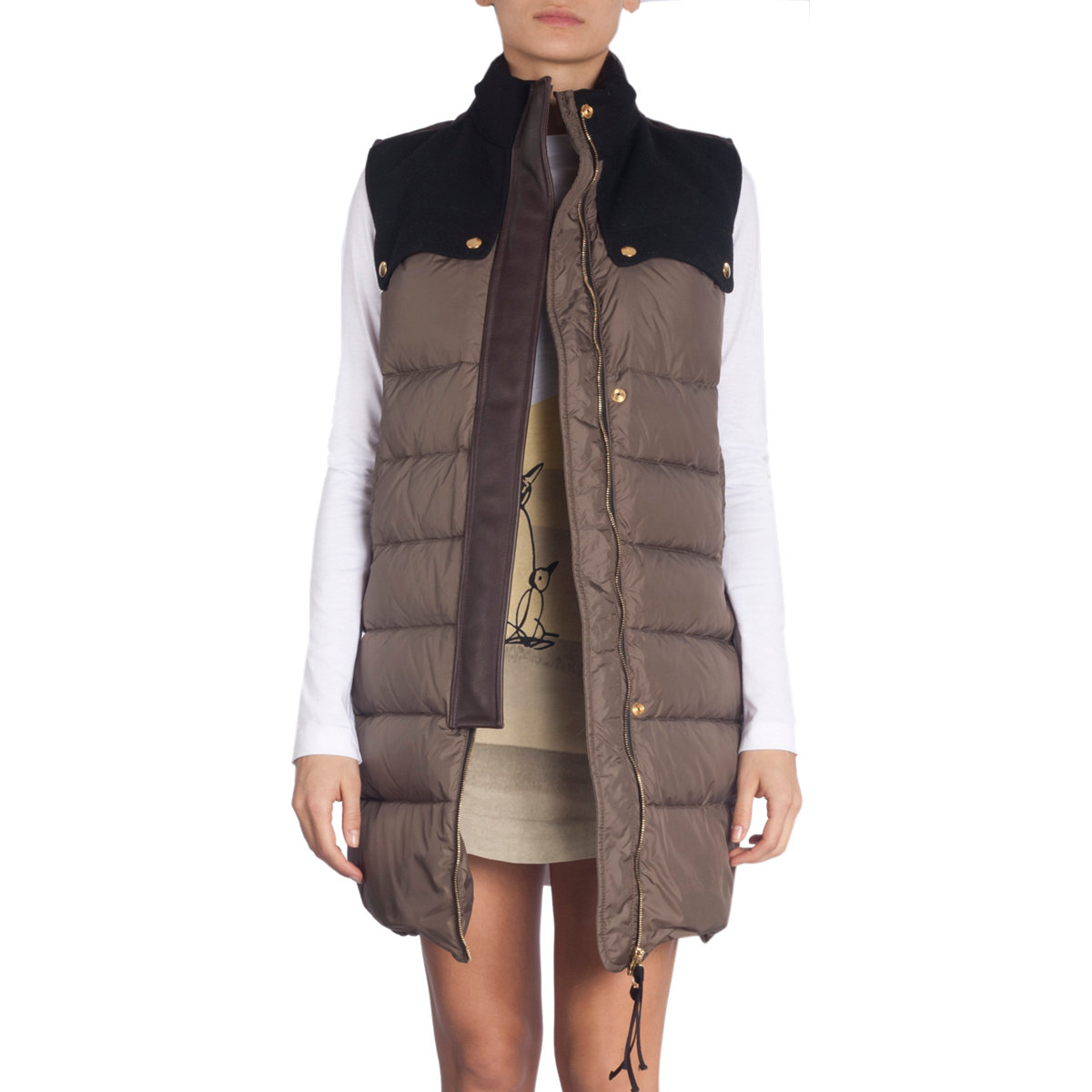 Marni Long Puffer Vest in Gray (olive)