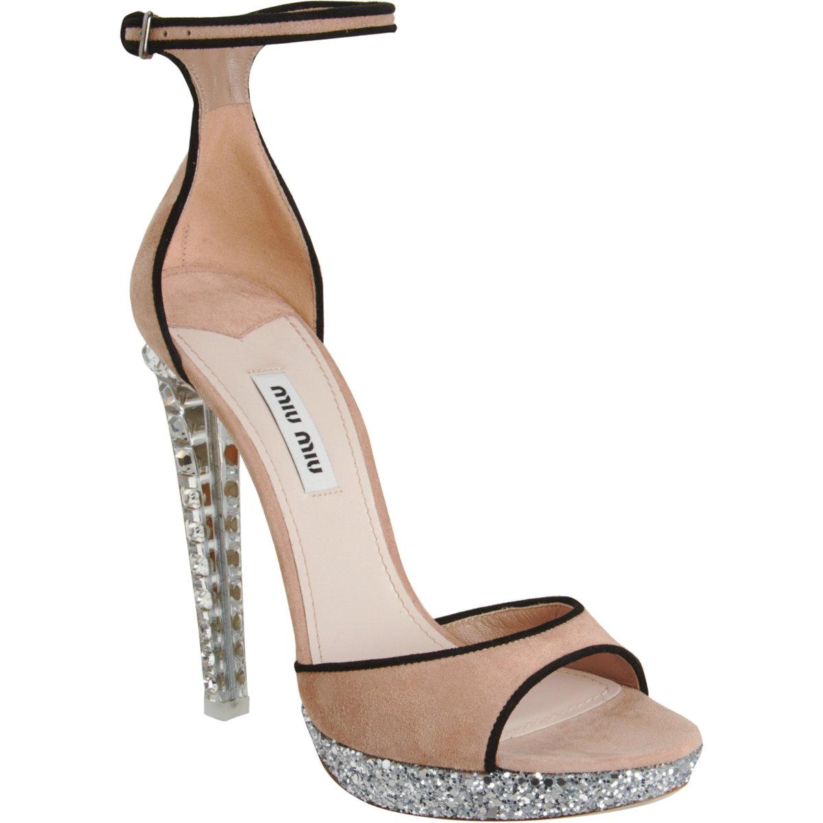 Miu Miu Crystal Heel Platform Sandal In Pink Black Lyst