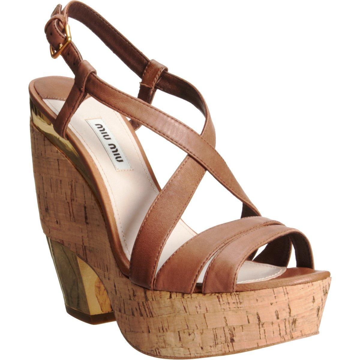 Miu Miu Cutout Wedge Sandals best seller online LOos2