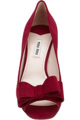 Miu Miu Double Bow Peep Toe Pump in Red (silver) - Lyst