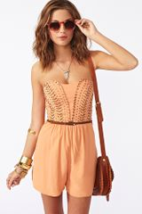 Nasty Gal Sound Session Romper in Beige (camel) - Lyst