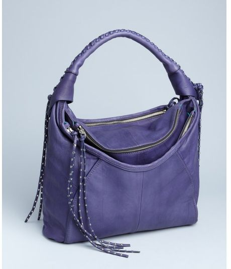 Oryany Purple Leather Whip-Stitched Studded Tassel Hobo in Purple