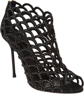 Sergio Rossi Crystal Cutout Shoe Booties - Lyst