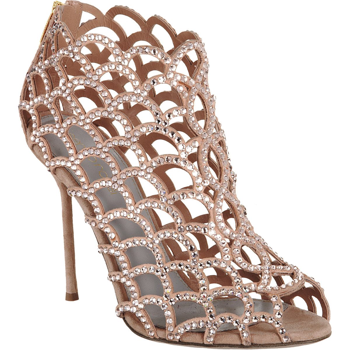 sergio rossi crystal cutout shoe bootie in gold nude lyst. Black Bedroom Furniture Sets. Home Design Ideas