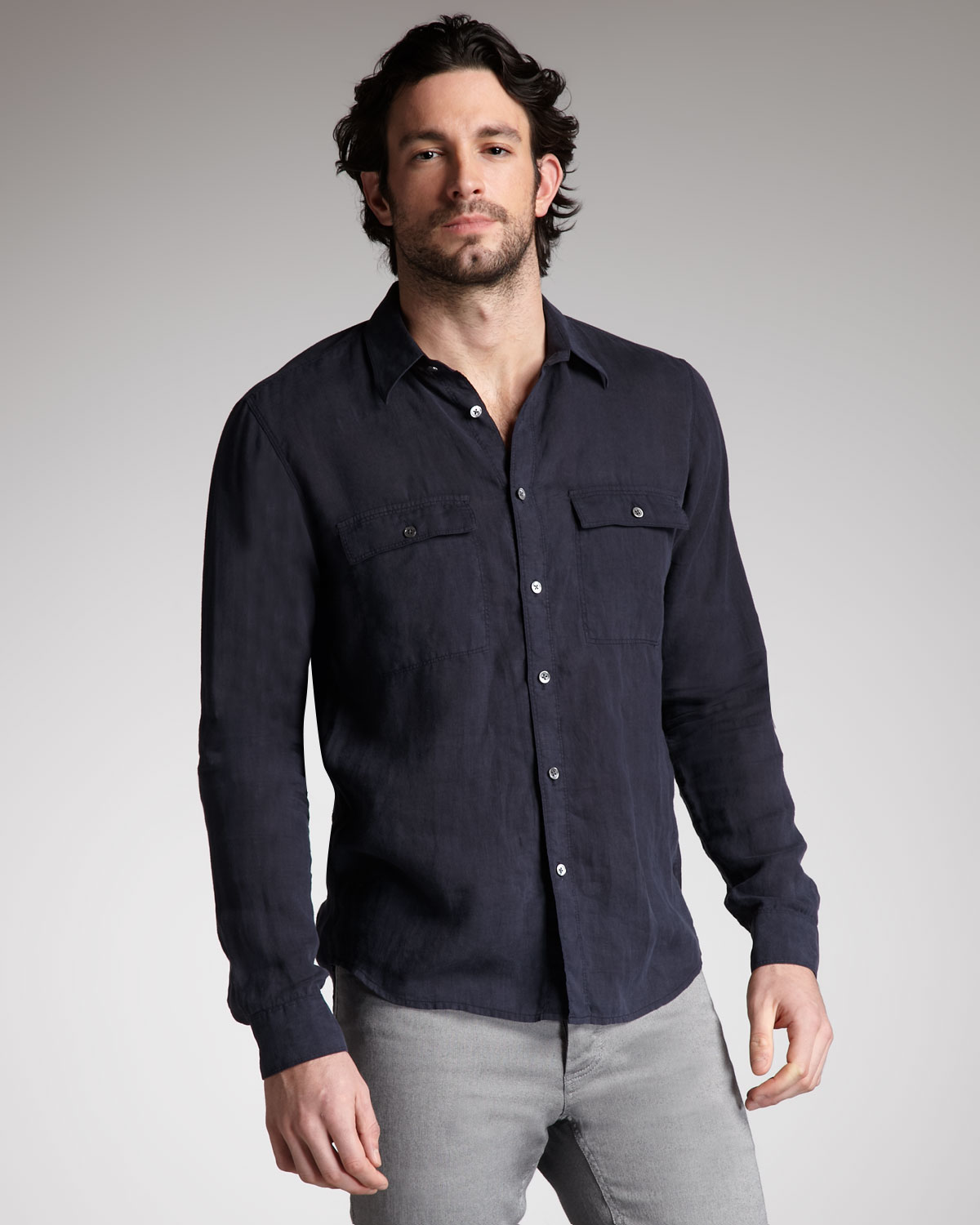 Theory Twopocket Linen Shirt in Black for Men (eclpse) | Lyst