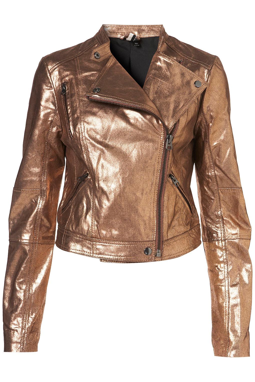 Lyst Topshop Metallic Clean Leather Jacket In Metallic