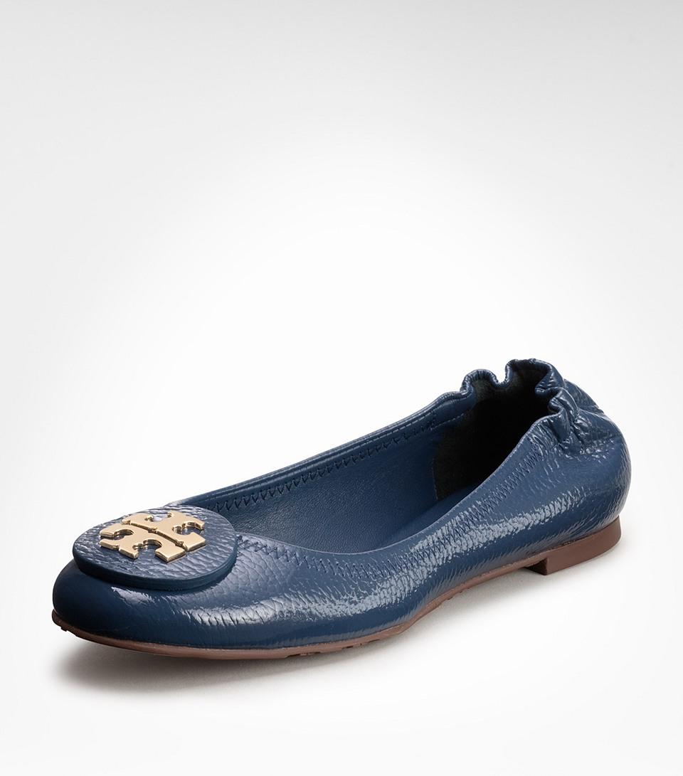 Blue Patent Flat Shoes