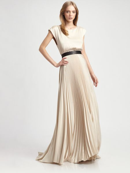 Alice + Olivia Maxi Dress Triss Pleated with Leather Belt in Beige (nude)