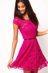 Asos Lace Skater Dress with Belt - Lyst