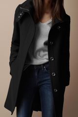 Burberry Brit Belted Collar Wool Coat - Lyst
