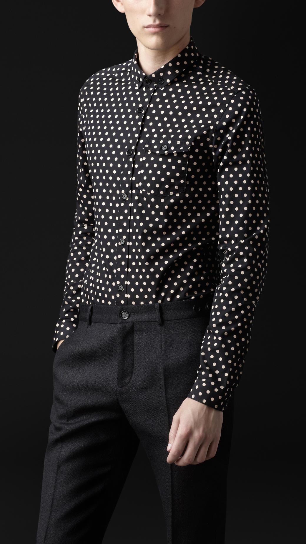 Burberry Prorsum Polka Dot Poplin Shirt In Black For Men
