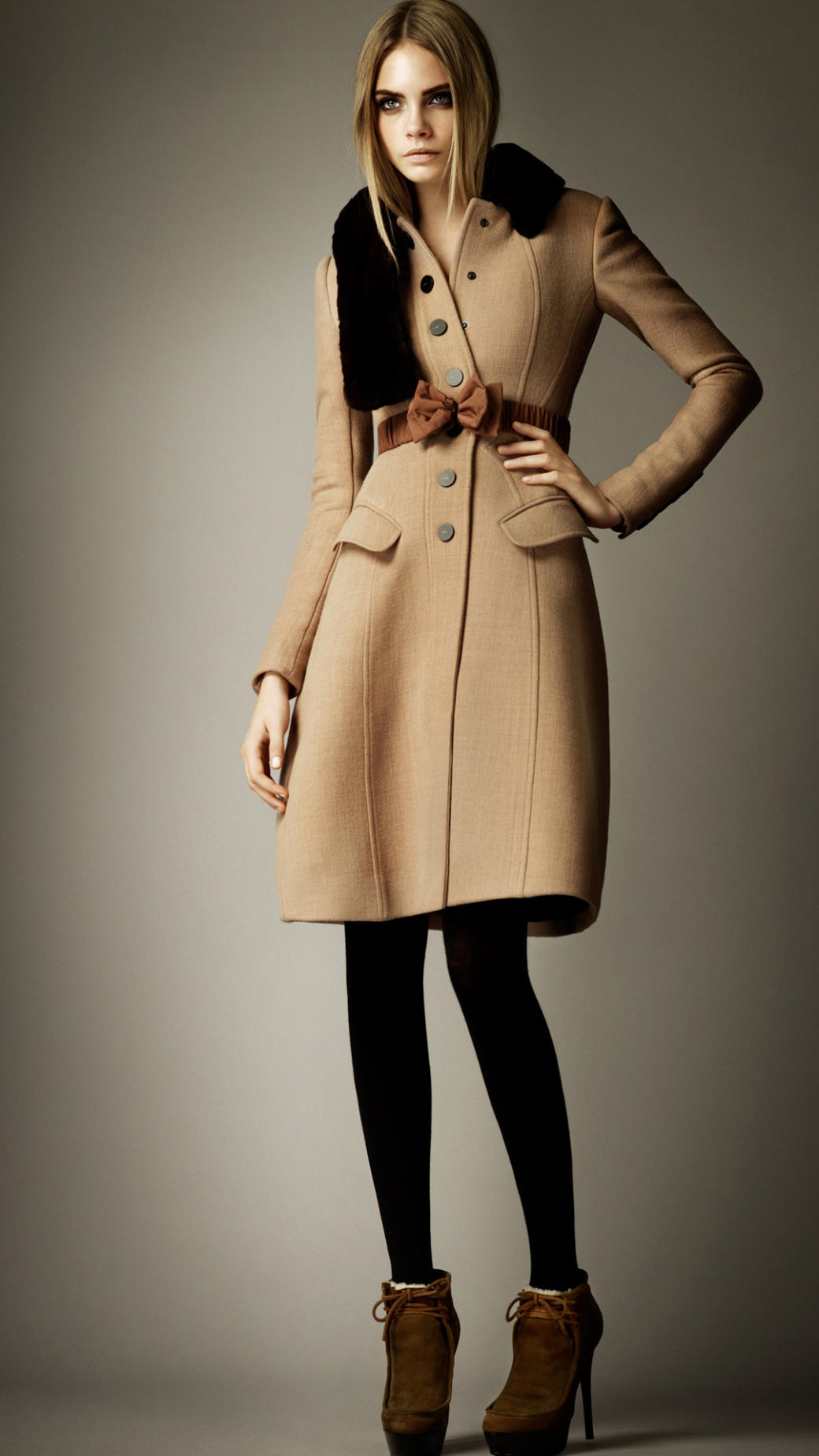 lyst burberry prorsum cr pe wool tailored coat in natural. Black Bedroom Furniture Sets. Home Design Ideas