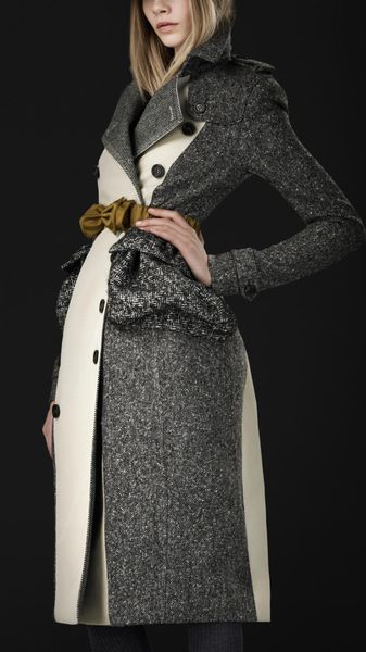 Burberry Prorsum Cotton Tweed Trench Coat - Lyst