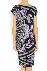 Emilio Pucci Printed Crepejersey Dress in Black - Lyst