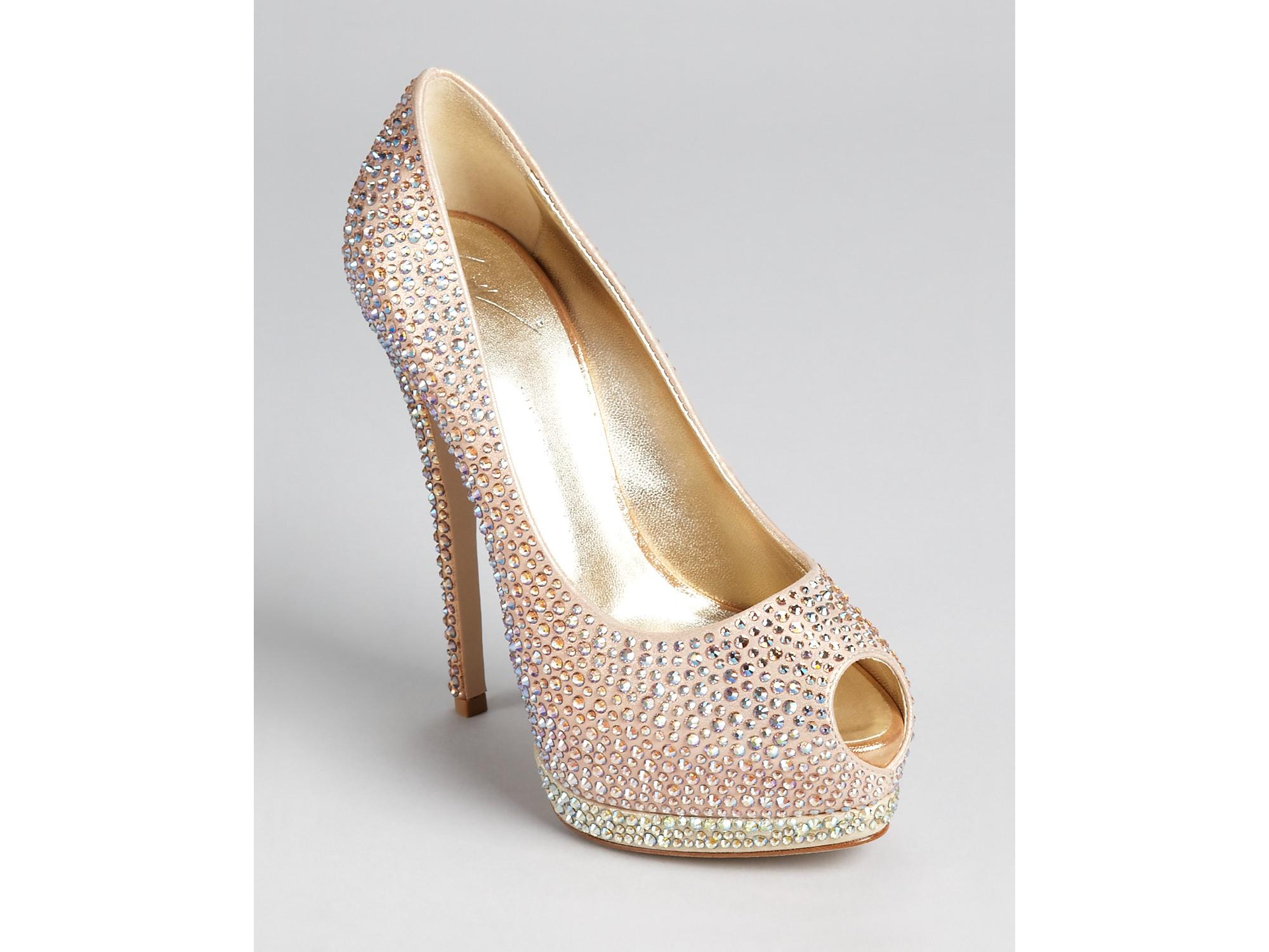 9a7b4d99987 ... real lyst giuseppe zanotti pumps sharon crystal open toe in metallic  6ad6b 141c2