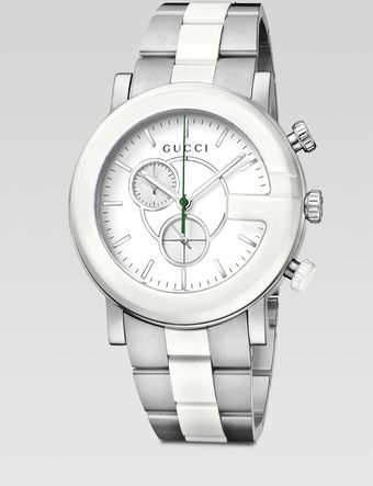 Gucci Ceramic Accented Stainless Steel Chronograph Watch - Lyst