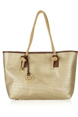 Michael by Michael Kors Marina Metallic Canvas Tote - Lyst