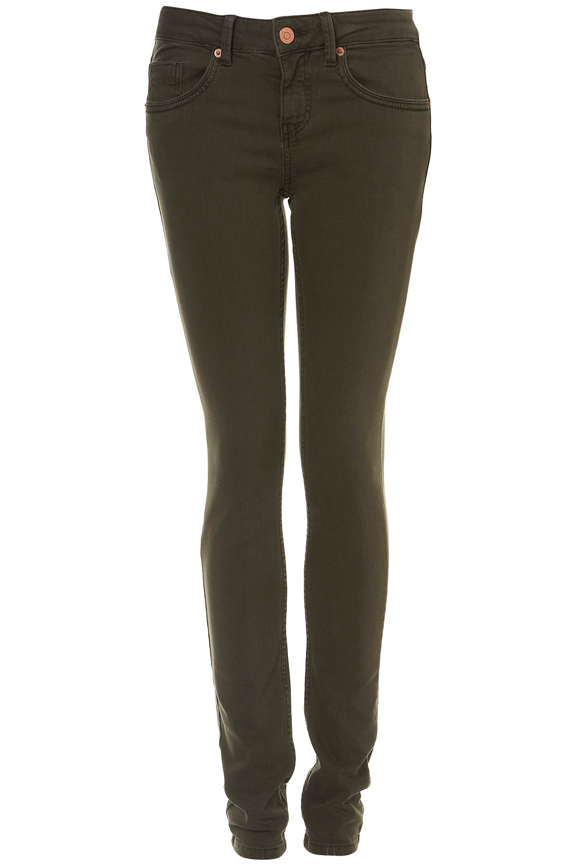 Topshop Moto Khaki Skinny Baxter Jeans in Black | Lyst