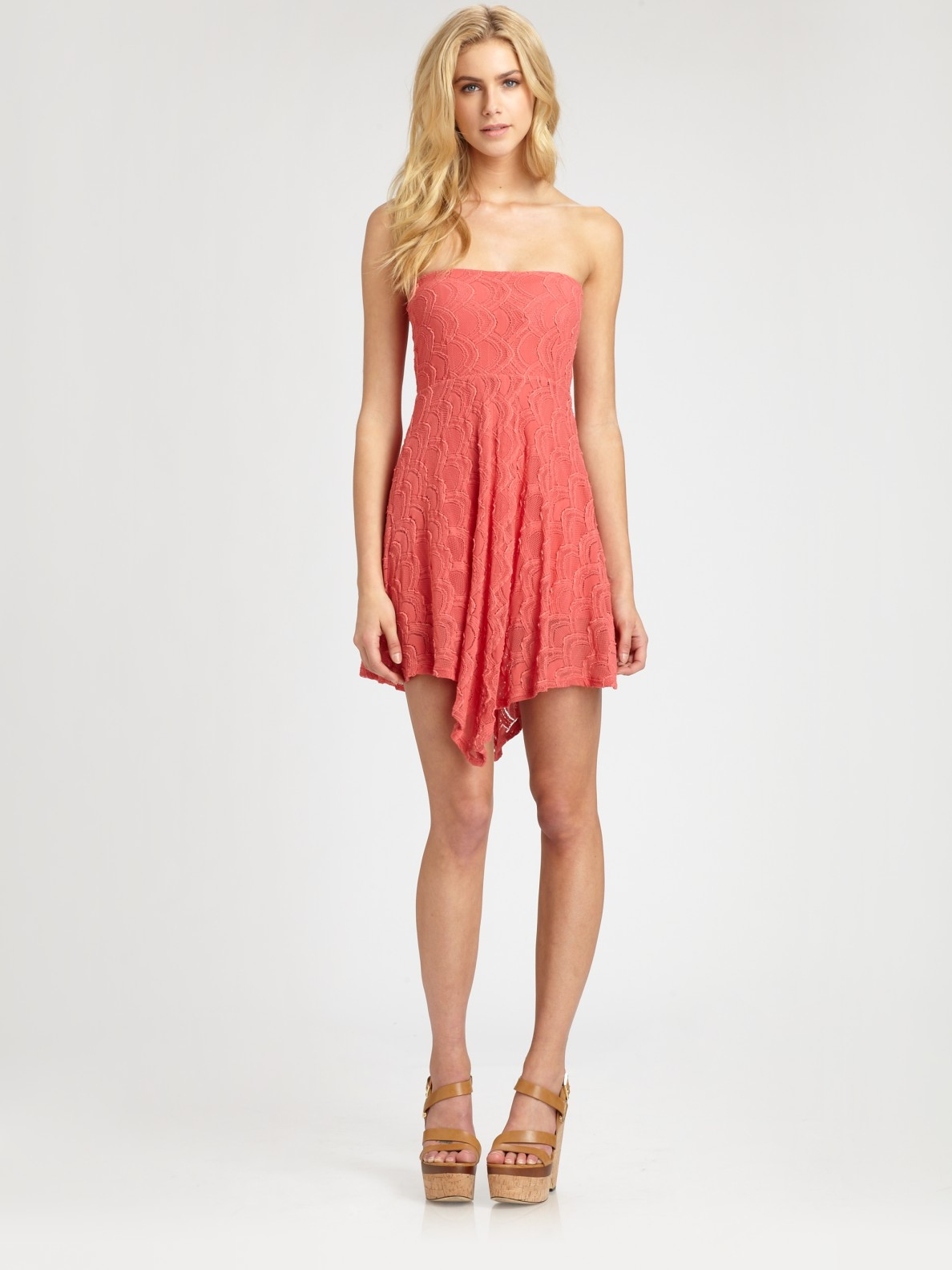 nightcap strapless lace dress in pink coral lyst