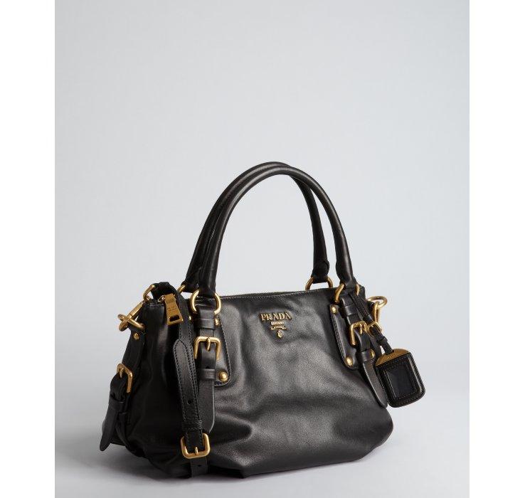 929be3664de0 Prada Black Leather Buckle Crossbody Satchel in Black - Lyst