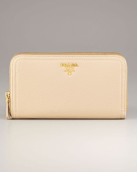 Prada Rectangular Ziparound Wallet in Beige (light camel) - Lyst