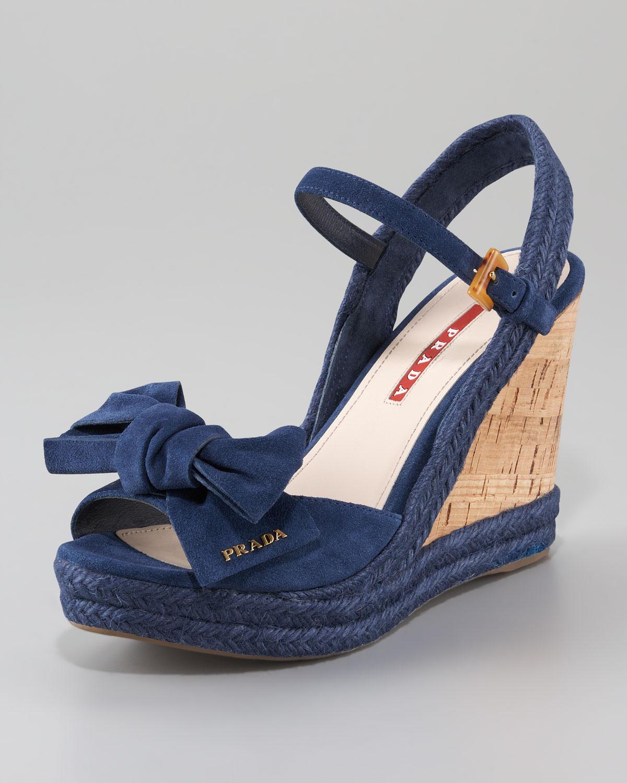 Prada Opentoe Bow Wedge Sandal In Blue Lyst