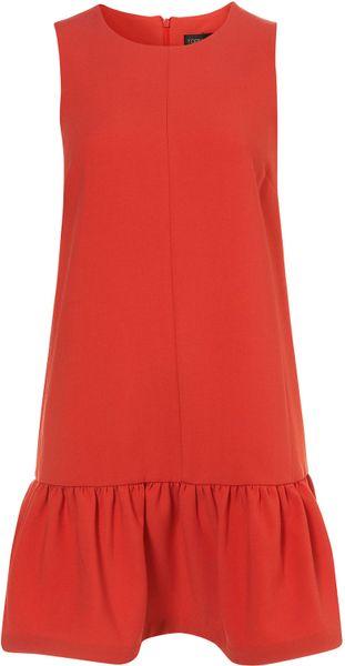 Topshop Drop Waist Shift Dress in Red