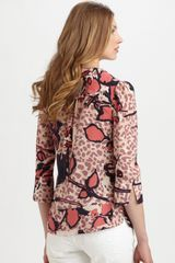 Tory Burch Printed Silk Tunic in Pink (black) - Lyst