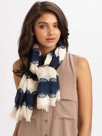 Tory Burch Silk Striped Lace Logo Scarf - Lyst