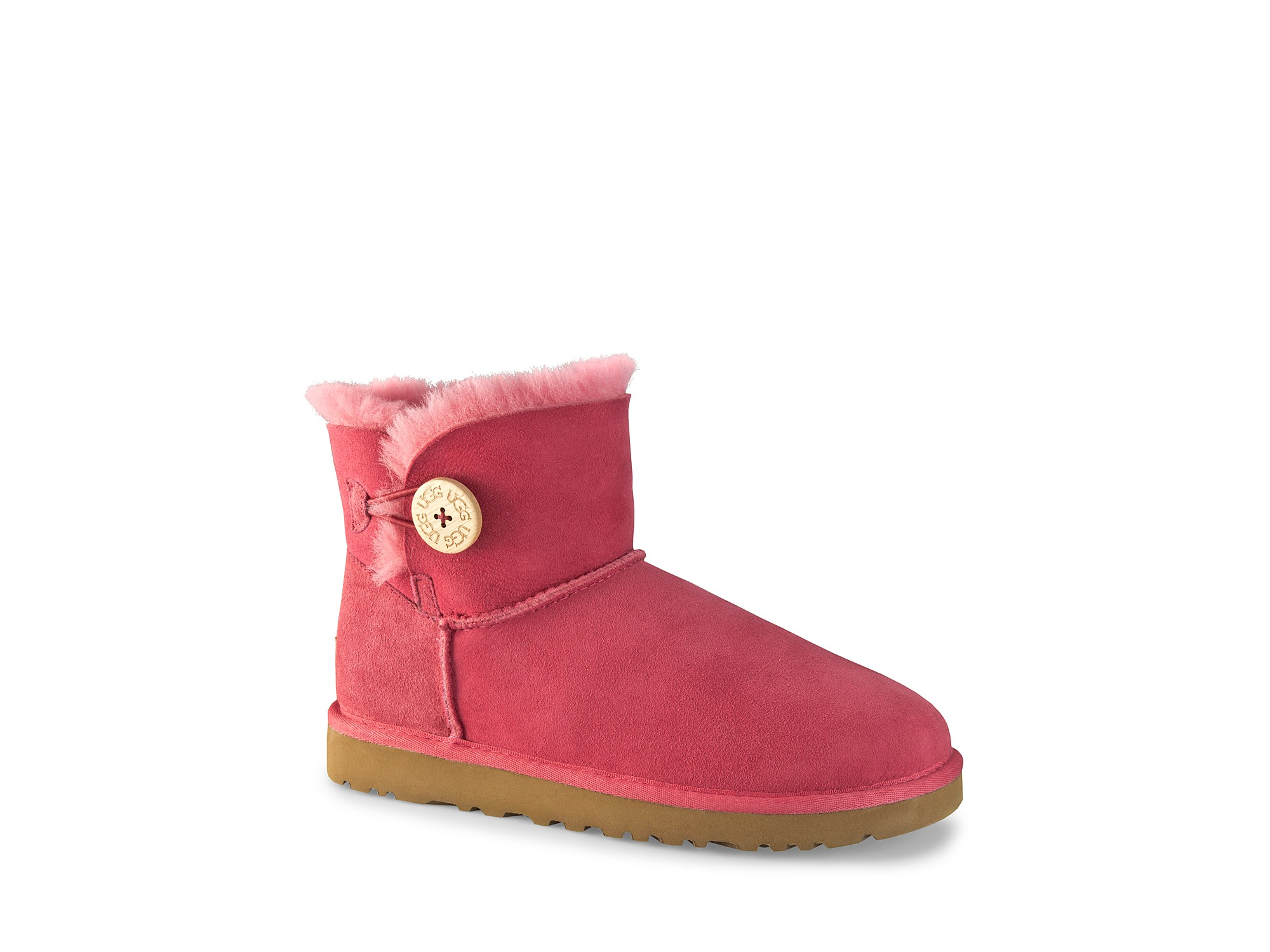 ugg boots mini bailey button in gray tearose coral lyst. Black Bedroom Furniture Sets. Home Design Ideas