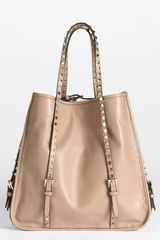 Valentino Rockstud Leather Shopper - Lyst