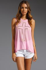 Wildfox Couture Cross My Heart Cut Off Tank - Lyst