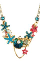Betsey Johnson Gold Tone Clam Multi Charm Frontal Necklace - Lyst