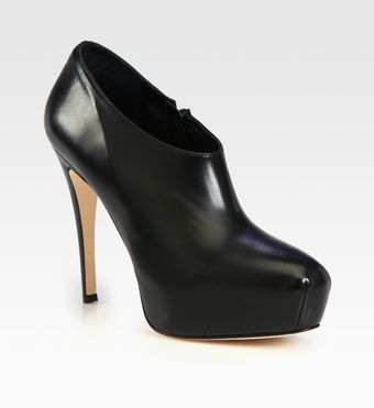 Brian Atwood Leather Platform Ankle Boots - Lyst