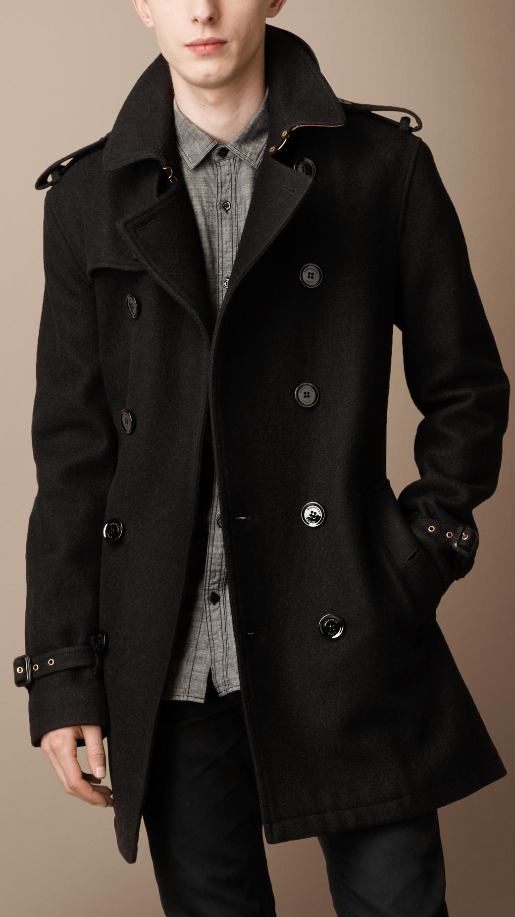 Burberry brit Midlength Wool Blend Trench Coat in Black for Men | Lyst