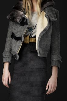 Burberry Prorsum Fur Collar Herringbone Jacket - Lyst