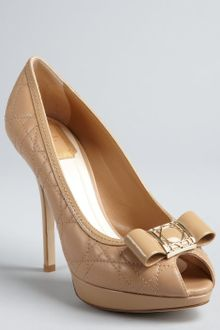 Dior Beige Cannage Leather Patent Bow Peep Toe Pumps - Lyst