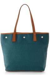 Furla Straw Dlight Shopper Teal - Lyst