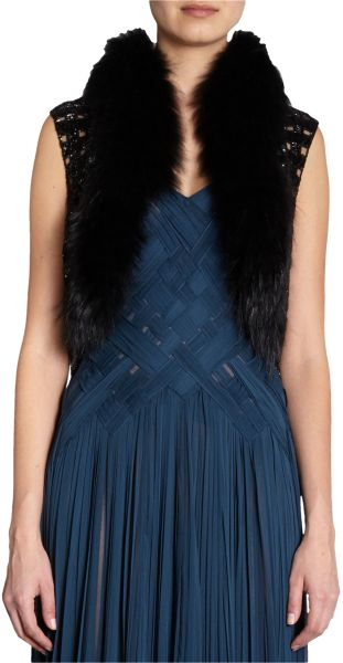 J. Mendel Fur Collar Vest in Black - Lyst