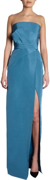 J. Mendel Strapless Origami Gown in Blue (teal) - Lyst