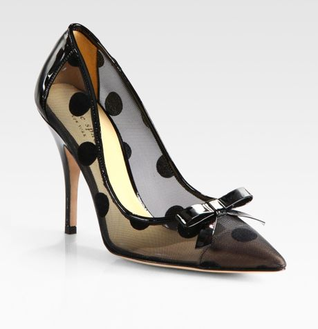 Kate Spade Polkadot Patent Leather Mesh and Velour Point Toe Pumps in Black
